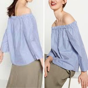 Zara Off Shoulder Peasant Blue White Striped Top S